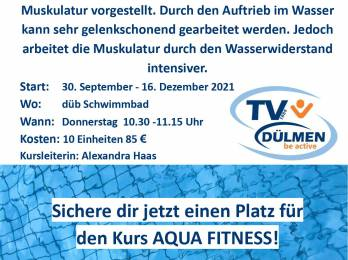 Neuer Aqua Fitness Kurs